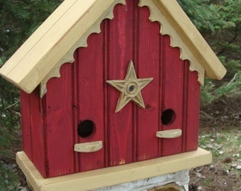 Cottage Birdhouses, Outdoor Bird House, Functional Birdhouse, Garden Decor, Red and Yellow Custom Colors