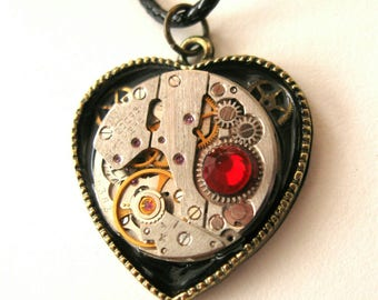 Steampunk jewelry Heart necklace Clockwork Steampunk Industrial Heart Pendant Gift Idea