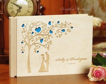 Custom Wooden Wedding Guest Book, Personalized, Rustic Memory Book