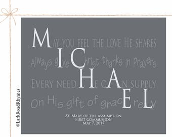 Boy Christening Gift For Godson Baby Boy Baptism Gift Christian Nursery Decor Religious Baby Gift Personalized Baptism Poem 8x10 Michael