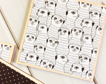 Meerkat Gift, Meerkat Decor, Meerkat Coasters, Monochrome Decor, Monochrome Coasters, Black and White, White Coasters, Black Coasters