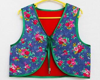 Childrens Folk Reversable Waistcoat/Vest. Sewing pattern waistcoat for girls pdf sewing pattern, childrens pdf sewing patterns.
