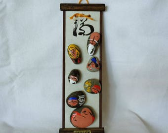 VJ886 :SEVEN LUCKY GODS Art Deco,Japanese seven lucky gods painted on stones and fix on wall hanging wooden board/plaque,hand made in Japan