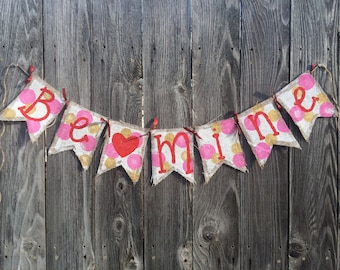Be Mine Polka Dot Heart Valentine Burlap Banner