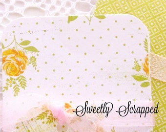 "Yellow Roses Shabby Chic Print Journal Cards, Project Life 2.5"" x 3.5"", Green"