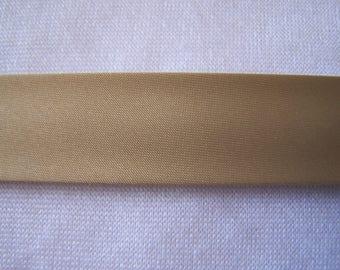Dark beige satin fabric, width 40/20 mm (S012)