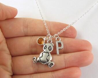 Personalized Panda Necklace- choose a birthstone and initial, Panda Jewelry, Panda Gift, Panda Charm, Personalized Panda, Panda Birthstone