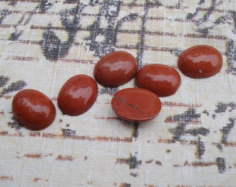 Semi-Precious 10x8mm Red Jasper Oval Flat Back Natural Cabs or Stones (12 pieces)