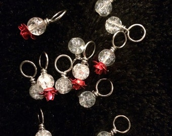 Red metal rose with black and white Crackle Glass beads handmade stitch markers for knitting (Qty 12)