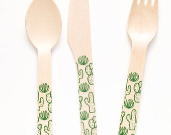 Cactus Forks Spoons Or Knives - Perfect Alternative To Plastic Utensils For Parties