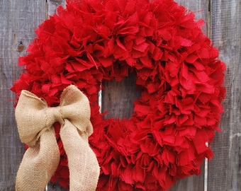 "36"" Rustic Wreath, Red Burlap Rag Wreath, Country Decor, Everyday Wreath, Rag Wreath, Knot Wreath, Red Wreath, Large Wreath"