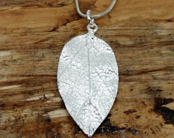 Sterling Silver Leaf Pendant and Chain - Handmade Jewellery - Silver leaf pendant - Pendant and Chain - Silver jewellery - Silver Gift MP26