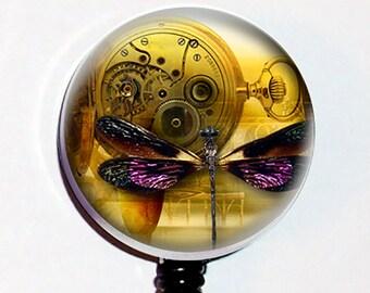 Purple Dragonfly Pocket Watch Steampunk Badge Holder ID  Teacher Designer Gift Retractable  Reel Clip