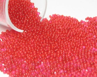 micro marbles / kawaii sprinkles red berry half ounce / 14 grams glass microbeads miniature Supplies 1mm & 1.5mm to 2mm
