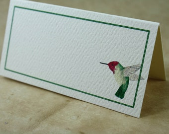 Placecards for Your Table, Set of 12. Watercolor Hummingbird Design with Deep Green Border