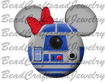 Digital Iron on Transfer- Star Wars inspired Mickey Heads, R2D2