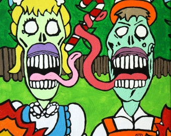 """Hand-Painted Original Zombie """"Hanzel & Gretel"""" Pop-Art, Street-Art Style Acrylic Painting Inspired by Zombies, The Brothers Grimm 12"""" x 12"""""""