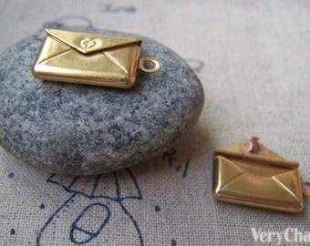 6 pcs of Raw Brass Heart Mail Photo Locket Charms 12x22mm A3554