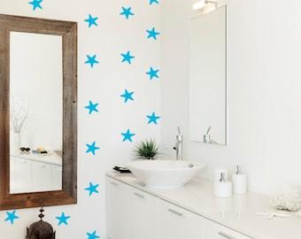 40 X Starfish Pattern Wall Decal / Bathroom Wall Sticker