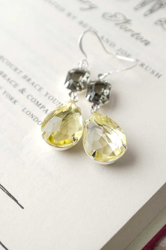 Bridesmaids Earrings | Vintage Glass Yellow and Gray Earrings