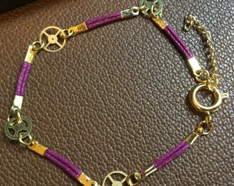 Steampunk red and gold bracelet