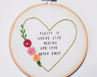 """Family Love 6"""" Embroidery Hoop"""
