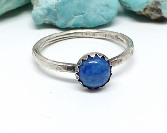 Blue Lapis Ring - Sterling Silver - Stacking Ring for women - Blue Denim lazuli Stone