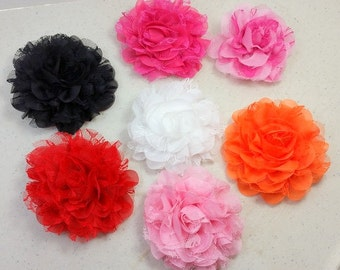 """4.5"""" Large Chiffon Lace Flower Hair Clips-Alligator Clips"""