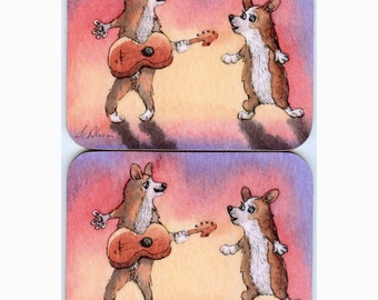 2 x Welsh Corgi dog coasters - playing guitar and singing you are my sunshine music ukulele from a Susan Alison watercolor painting