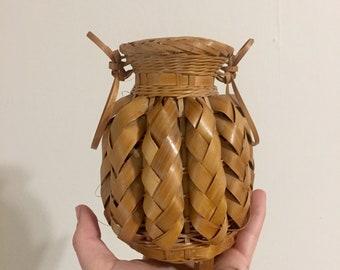 Little Inteicate Hand Woven Boho Chic Basket Vase