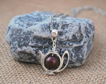 Teapot necklace, minimalist charm necklace, everyday silver tone tea necklace, tea lovers, tea party