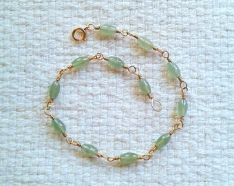 "Jade and Gold-Filled Wire-Wrapped Bracelet - 8"" Long                                                                       05/18"