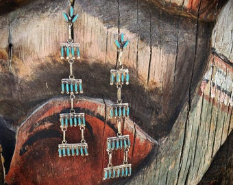 Tiered Chandelier Earrings Long Turquoise Dangles Zuni Needlepoint Shoulder Dusters