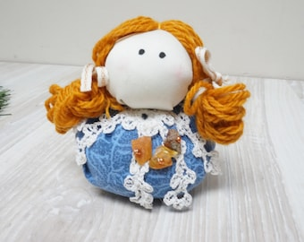 Rag doll girl or Good luck kitchen witch handmade decor with real Baltic amber beads Halloween hand sculptured sewn raggedy blue mustard