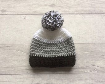 0-3 Months Pom Pom Beanie Hat, Boys Wool Hat, Girls Wool Hat, Baby Winter Hat, Wool Baby Hat, Black and White Hat, READY TO SHIP