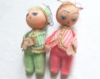 2 Weihnachten Ornamente Pixies in Geschenkebox 1950er Jahre Alter Weihnachtsschmuck