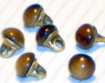 Vintage Doll Buttons, Doll Clothing,Tiny Clothes Glass Vintage Amber Doll buttons Moonstone Beads 3mm #1105B