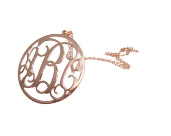 """1"""" rose gold Personalized Monogram Necklace. Initial monogram necklace,Sterling silver Plated with gold. initial necklace. personalized"""