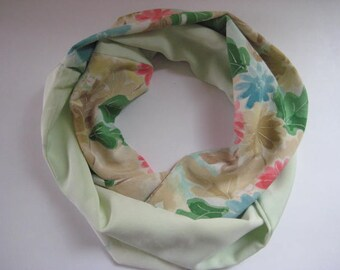 Mint Green Floral Japanese Silk Scarf - Vintage Japanese Kimono Fabric