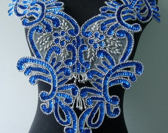 BD13-3 Floral Fringed Bodice Sequined Beaded Applique Motif Royal Blue Sewing on Dancewear