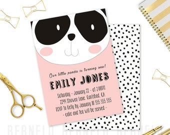1st birthday girl printable, 1st birthday girl party, 1st birthday invitation pink and gold, 1st birthday invitation girl. panda invitations