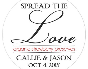 Spread The Love Bridal Shower Labels, Custom Wedding Stickers or Bridal Shower Stickers, Spread the Love Stickers - Personalized for YOU
