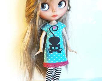 """Handmade  Light Turkoise Tricot Dress """"Black Cat"""" 1/6 for Blythe Doll"""