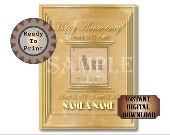 50th Anniversary Sign Gold Periodic Table Personalized Printable Set Art Deco Roaring 20s Science Poster Party Decoration 5 Files 4 Sizes