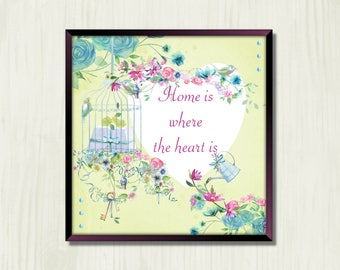 Heart and Home - Instant Downloadable Art Print Digital Wall Art Printable Floral Art Home Decor