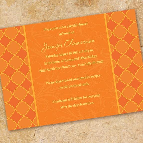 bridal shower invitations, bridal shower ideas, tangerine tango bridal shower invitations, bachelorette party invitations, OSU grad, IN184