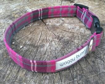 Plaid Dog Collar, Tartan Dog Collar, Personalized Collar, Small Dog Collar, Pink Dog Collar, Pet Collar, Personalised Dog Collar