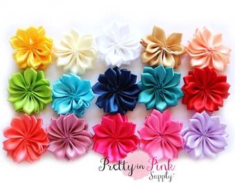 "1.5"" Satin Pinwheel Flowers NO CENTER- You Choose Quantity- DIY Headband Supplies- Flower- Wholesale- By the Piece- Supply Shop"