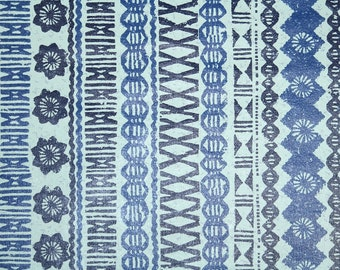 Retro Wallpaper by the Yard 70s Vintage Wallpaper - 1970s Blue and Navy Aztec Tribal Geometric Stripes