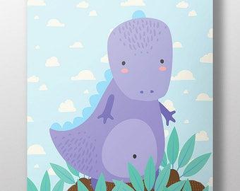 Purple Dinosaur Art Print~Children's Art~Kid's Room Decor~Friendly Dinosaur Poster~Dinosaur Wall Art~Nursery Giclee Print~Gift for Child